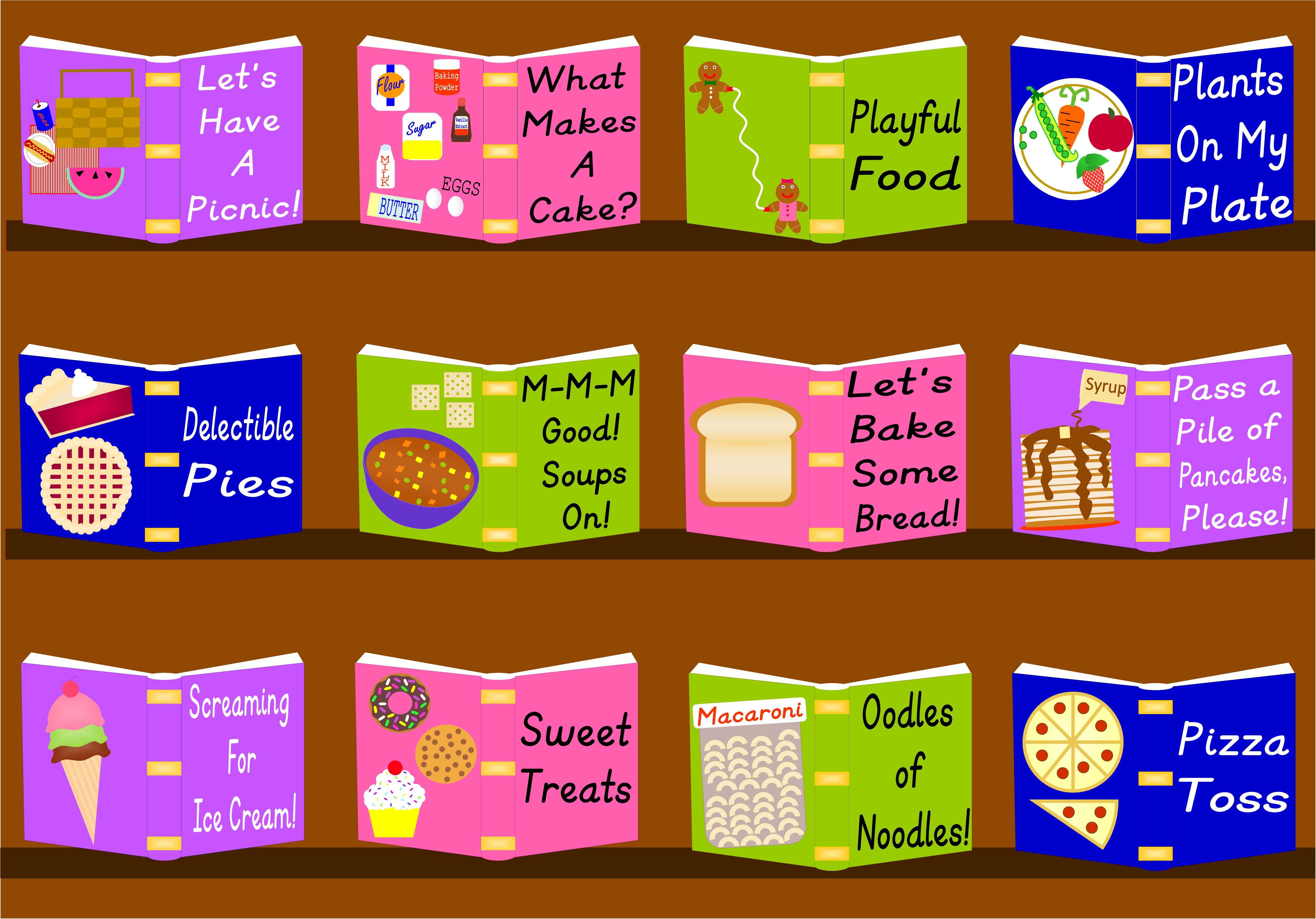 Illustration of cookbooks demonstrating this Books 4 Fun Sessions topics